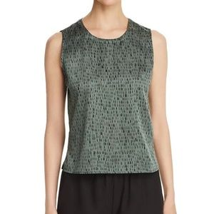 Eileen Fisher Silk Green Printed Sleeveless Top L